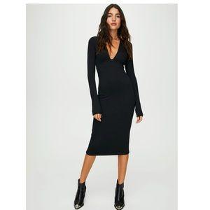 NWOT-Aritiza Abby Black Deep V Neck Midi Dress